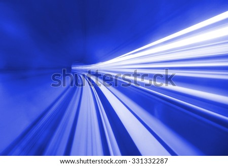 Blue tunnel speed motion - stock photo