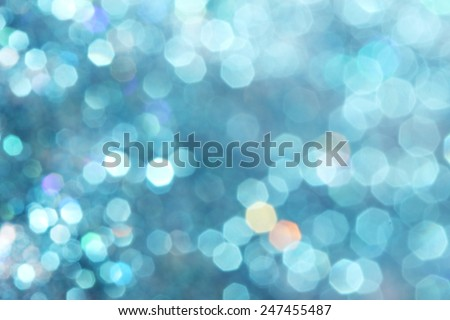 Blue turquoise glitter christmas abstract background - soft colors Defocused abstract blue christmas winter background Soft lights - stock photo
