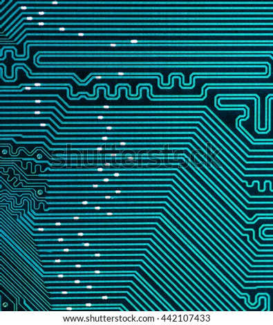 blue turquoise pcb board integrated circuit electric computer parts abstract background  - stock photo