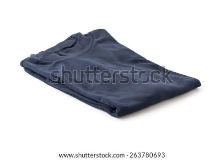 Blue turtleneck. Isolated on a white background. - stock photo