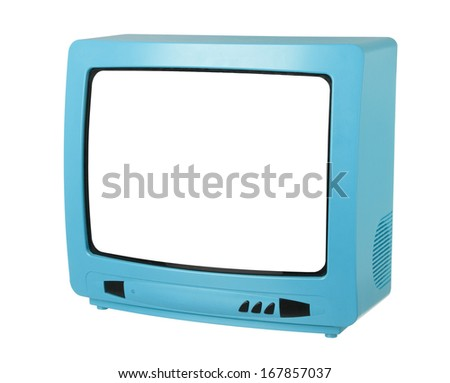 Blue TV isolated on white background - stock photo