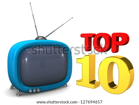 Blue TV with text Top 10 on the white background. - stock photo
