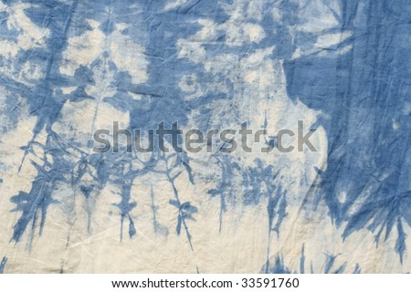 blue tye dyed cotton - stock photo