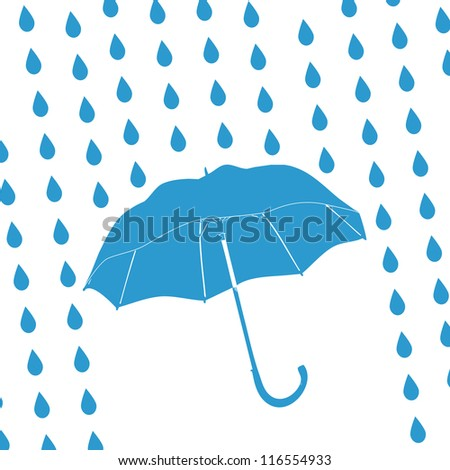 blue umbrella and rain drops - stock photo