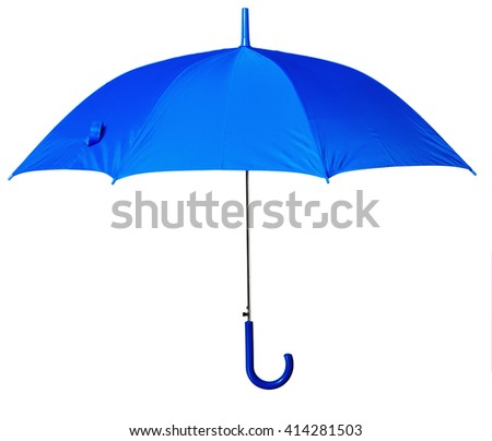 blue umbrella isolated against white background - stock photo