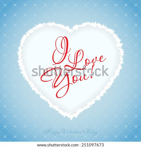 Blue Valentines Day Greeting Card with Pattern - stock photo