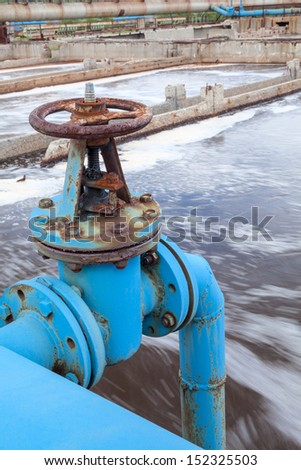 Blue valve gate for oxygen blowing in waste water - stock photo