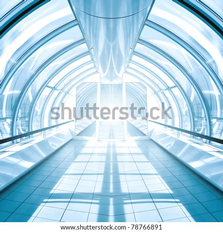 blue vanishing hall in airport - stock photo