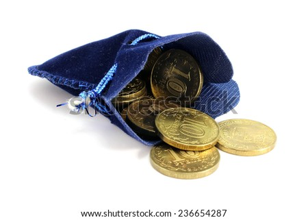 Blue velvet bag Russian rubles on a white background - stock photo