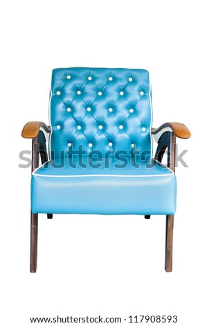 Blue vintage arm chair  isolated on white background - stock photo