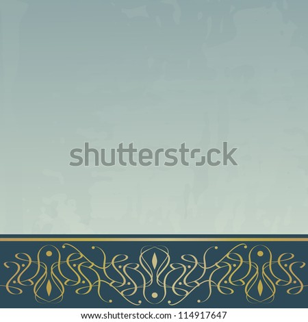 blue vintage background with a border (raster version of the vector) - stock photo
