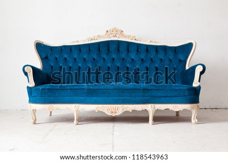 Blue vintage classical style Sofa bed - stock photo