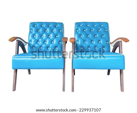 Blue vintage couple armchairs isolated on white background - stock photo