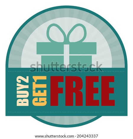 Blue Vintage Style Buy2 Get1 Free Icon, Label or Sticker Isolated on White Background  - stock photo