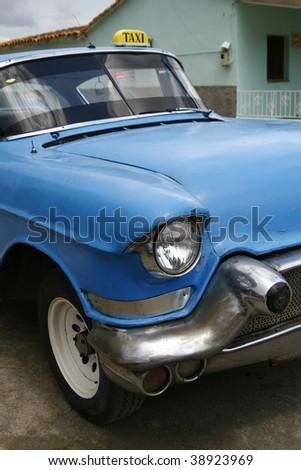 Blue vintage taxi cab in Havana, Cuba - stock photo