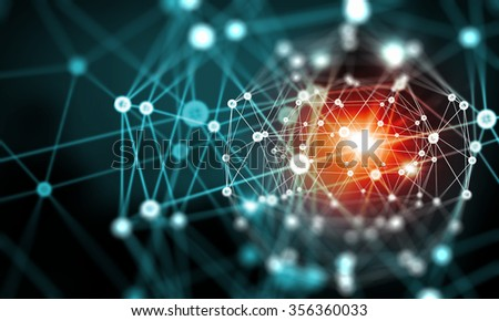 Blue virtual technology background with lines and grids - stock photo