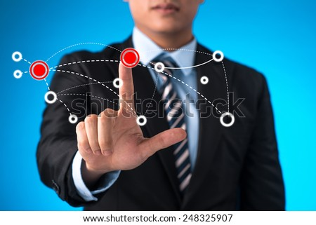 Blue vivid image of globe. Globalization concept. Business person working with modern virtual technology.  - stock photo