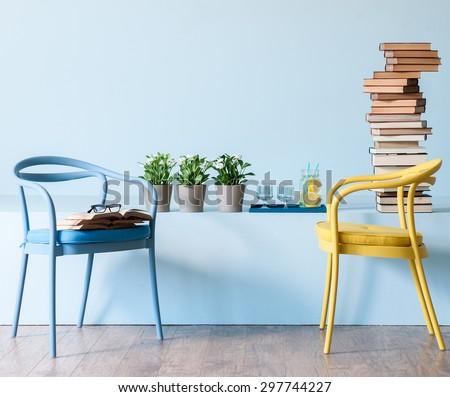 blue wall interior style  - stock photo