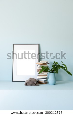 blue wall interior style with frame - stock photo