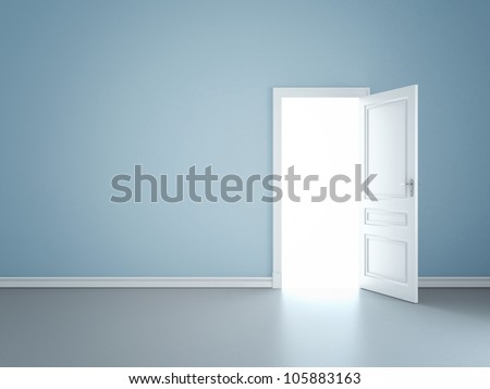 blue wall with opened door - stock photo