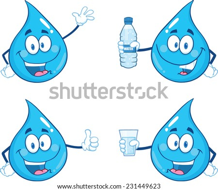 Blue Water  Drop Character In Different Poses 1. Raster Collection Set - stock photo