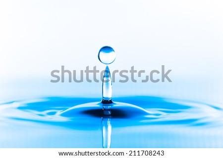 Blue Water drop splash - stock photo