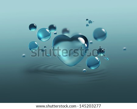 blue water drops and water-heart - stock photo