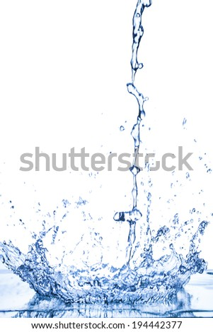 blue water drops spread. - stock photo
