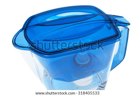 blue water filter on a white background - stock photo