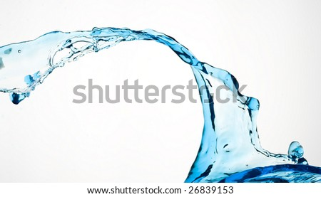 Blue water isolated on white.Background water drop. - stock photo