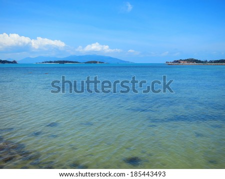 Blue water lagoon with rocks at Koh Samui, Thailand - stock photo