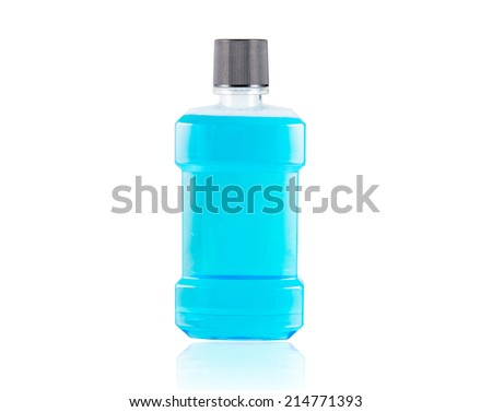 Blue water mouthwash isolate on over white background - stock photo