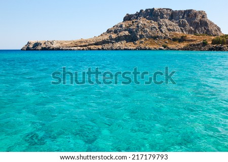 Blue water of Mediteranean Sea - stock photo