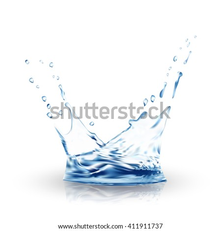 Blue water splash, illustration. gradient meshes - stock photo