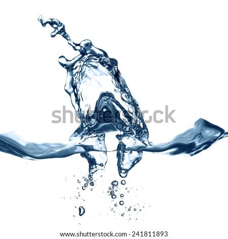blue  Water splash on a white - stock photo