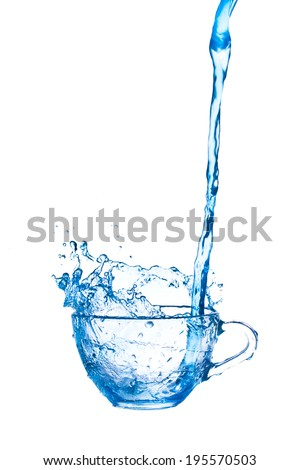 blue water  splashing from glass on white background. - stock photo