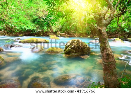Blue water stream. Phong Nha - Ke Bang National Park. Vietnam - stock photo