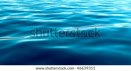 Blue water surface. 3D rendered realistic illustration. - stock photo
