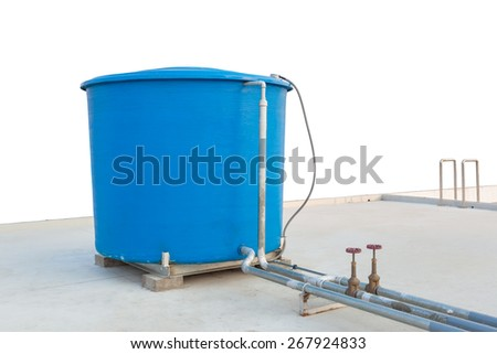Blue water tank of industrial building on roof top or deck on white background - stock photo
