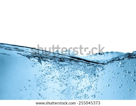 Blue water wave abstract background isolated on white - stock photo