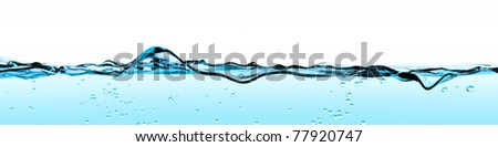 Blue Water Wave front - stock photo