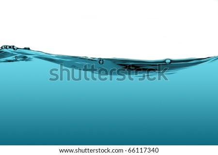 Blue water wave isolated on a white background. - stock photo