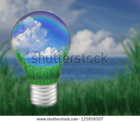 blue water with blue sky white clouds in light bulb seem save nature and good environment - stock photo