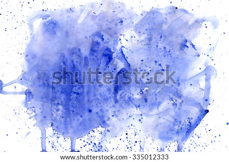 Blue watercolor background. Background made by hand with watercolors and smooth paper.  - stock photo