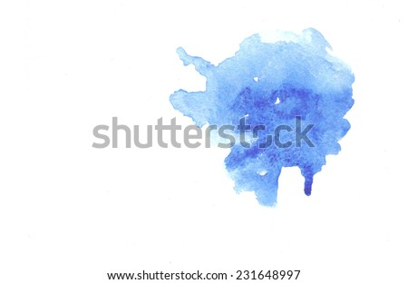 Blue watercolor background for textures and backgrounds. Abstract blue watercolor background. Hand drawn watercolor backdrop - stock photo