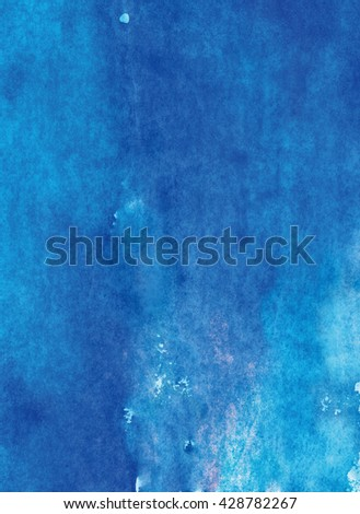 blue watercolor background handmade - stock photo