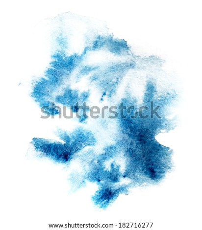 blue watercolor blotch on white background - stock photo