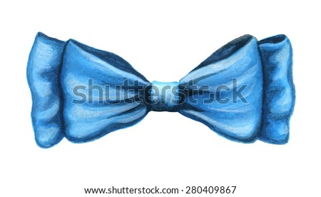 Blue watercolor bow ribbon element isolated on white background - stock photo