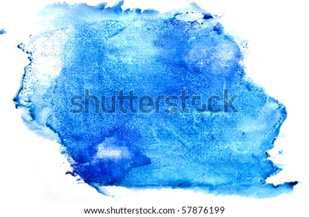 Blue watercolor brush strokes - stock photo