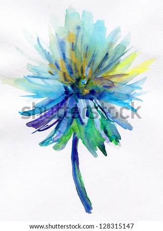 blue watercolor flower - stock photo